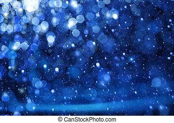 kunst, lys christmas, på, blå baggrund