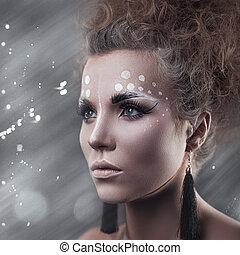 kunst, makeup., beauty, vrouwlijk, verticaal, met, schattig, make-up