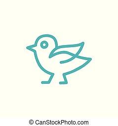 kunst, meldingsbord, vector, ontwerp, mal, pictogram, lijn, vogel, logo