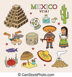 kunst, mexico, doodle, reizen, vector, toerisme