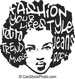 kunst, mode ontwerp, knallen, man