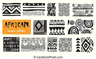 kunst, moderne, patterns., seamless, verzameling, vector, afrikaan