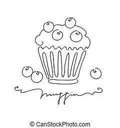 kunst, muffin, weißes, freigestellt, abbildung, hand, hintergrund., vektor, blaubeere, gezeichnet, linie, style.