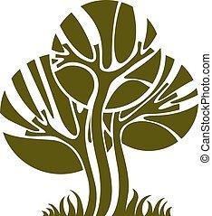 kunst, natuur, beeld, symbolisch, illustratie, creatief, idea., boompje, enkel, vector, bos, concept., plant