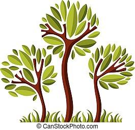 kunst, natuur, beeld, symbolisch, illustratie, creatief, idea., boompje, vector, bos, concept., plant