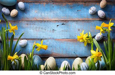 kunst, ostern, hintergrund, mit, ostereier, und, frühjahrsblumen
