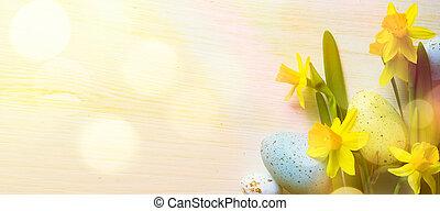 kunst, ostern, hintergrund, mit, ostereier, und, gelber , frühjahrsblumen