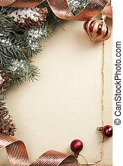 kunst, ouderwetse , kerstmis, begroetende kaart