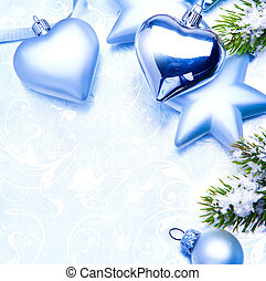 kunst, ouderwetse , kerstversiering, op, blauwe achtergrond