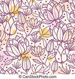kunst, paarse , model, seamless, achtergrond, lijn, bloemen