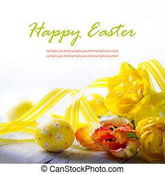 kunst, paaseitjes, en, gele, voorjaarsbloem, op wit,...