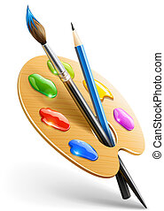 kunst, palet, met, verfborstel, en, potlood, gereedschap,...