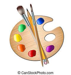 kunst, palet, met, verfborstel, voor, tekening
