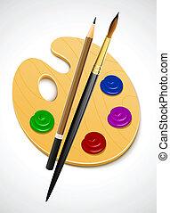 kunst, palette, und, instrument, für, zeichnung