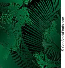 kunst, palm, vector, blad, achtergrond