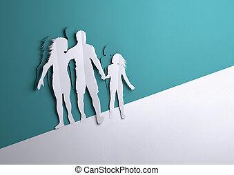 kunst, papier, -, familie, glücklich