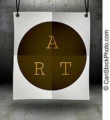 kunst, papier, plakat, hängen, seil