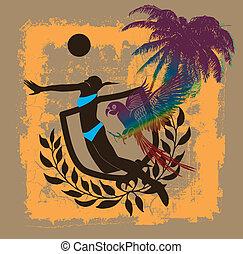 kunst, pazifischer ozean, vektor, salve, sandstrand