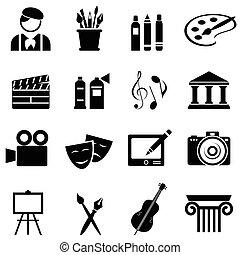 kunst, pictogram, set