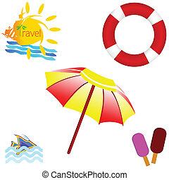 kunst, reizen, illustratie, vector, strand, pictogram