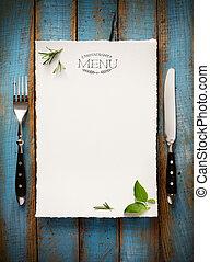kunst, restaurant, voedingsmiddelen, menu, ontwerp, mal, brochure., koffiehuis