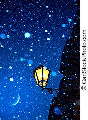 kunst, romantische, kerstmis, avond