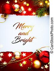 kunst, rood, kerstmis, feestdagen, achtergrond;, begroetende kaart