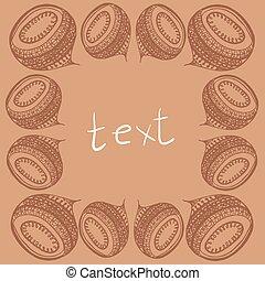 kunst, ruimte, ornament, text., vector, lijstjes