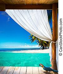kunst, schöne , strand, ansicht, hintergrund