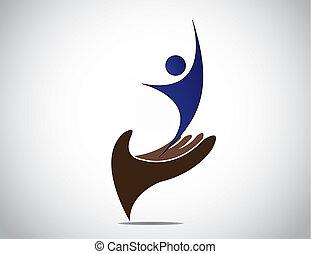 kunst, schützend, weibliche , geschäftsführung, silhouette, ...