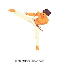 kunst, schop, danser, machtig, nationale, karakter, illustratie, krijgshaftig, capoeira, vector, braziliaans
