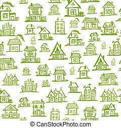 kunst, seamless, huisen, ontwerp, achtergrond, jouw