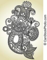 kunst, sierlijk, ontwerp, bloem, lijn