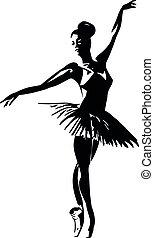 kunst, silhouette, ballett