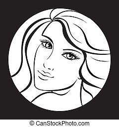 kunst, skønhed, face., arbejde, illustration, vektor, pige