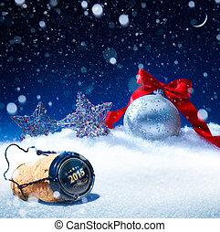 kunst, sneeuw, kerstmis, achtergrond;, oudjaarsdag