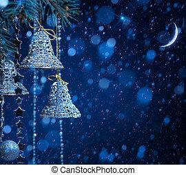 kunst, sneeuw, kerstversiering, op, blauwe achtergrond