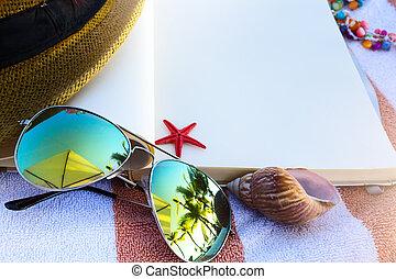 kunst, sommer, vacation;, nyde, glade, ferie, på, den, sommer, strand