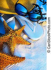 kunst, sommerferien, meer, sandstrand, hintergrund