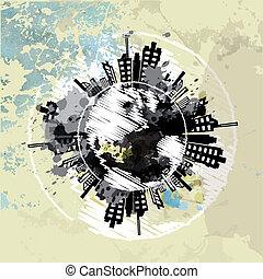 kunst, stedelijke , globe, grunge, achtergrond