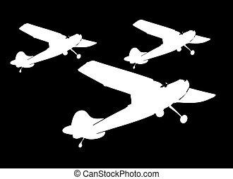 kunst, straalvliegtuig, vector, silhouette, witte , vliegtuig