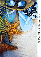 kunst, strand, accessoires, op, een, verlaten, tropisch...