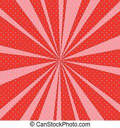 kunst, sunbeams, knallen, retro, achtergrond, rood