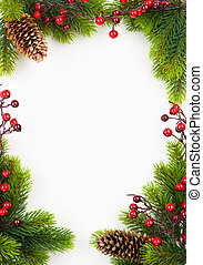 kunst, tanne, weihnachten, beere, rahmen, stechpalme