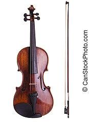kunst, touwtje, boog, instrument muziek, viool, witte