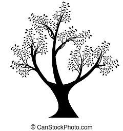 kunst, træ, silhuet