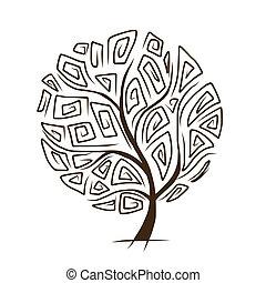 kunst, træ, smukke, by, din, konstruktion