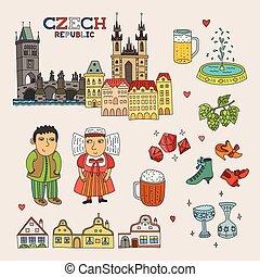 kunst, tsjech, doodle, reizen, vector, republiek, toerisme