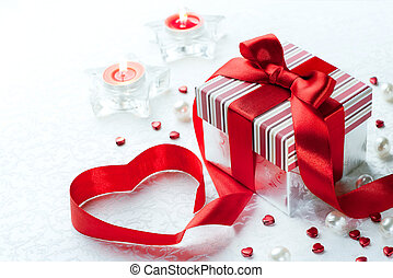 kunst, valentijn, dag, giftdoos, met, rood lint, boog, hart