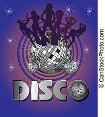 kunst, vector, meiden, afro, disco